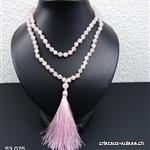 Collier - Sautoir noué en Quartz Rose facetté 6 mm, 80 cm