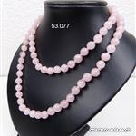 Collier noué Quartz Rose 8 mm / 80 cm
