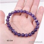 Bracelet Améthyste avec Quartz 7 mm, élastique 18 - 18,5 cm