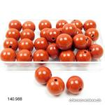 Jaspe rouge boule percée 8,5 mm