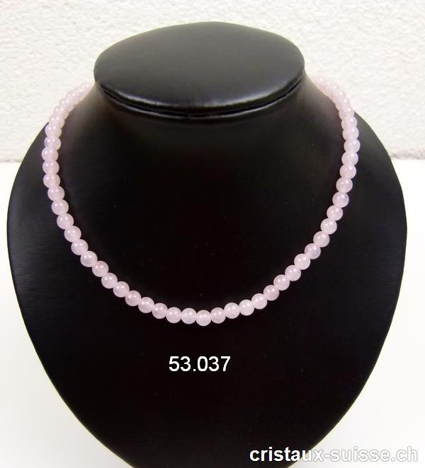 Collier Quartz Rose boules 6 mm / 45 cm