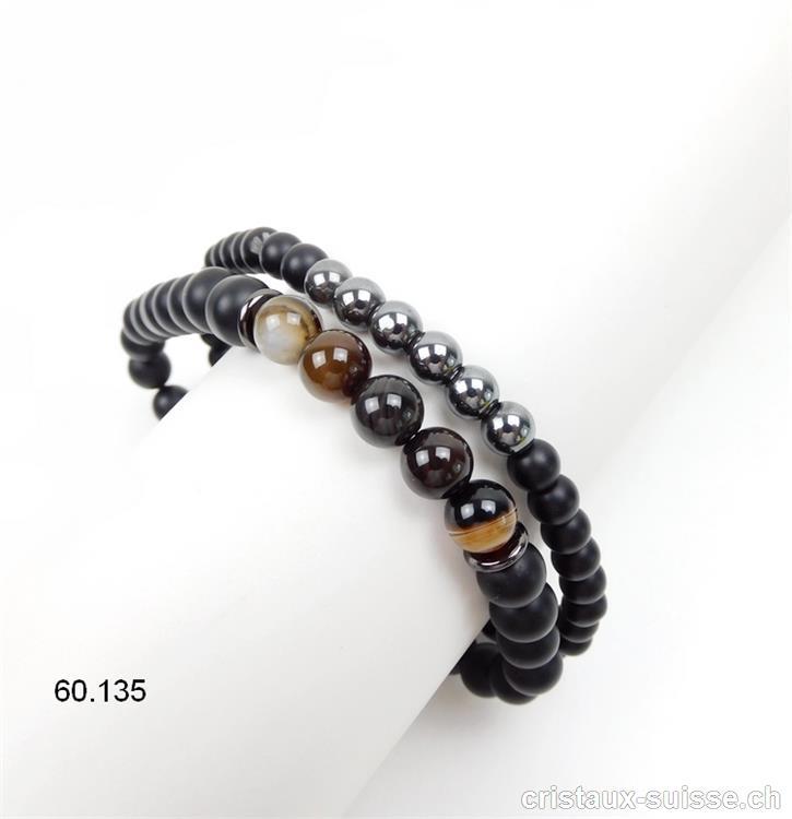 économiser pas cher pour réduction baskets 2 Bracelets pour Homme 23 cm. Onyx noir mat - Hématite - Agate brune 8 mm,  élastique. Taille XL