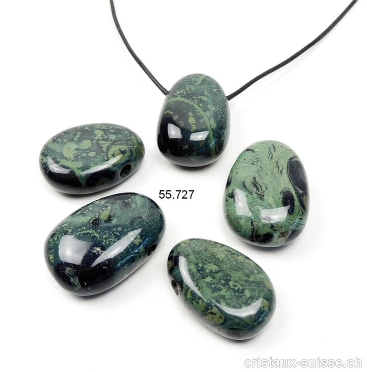 cordon cuir pierre trouée Pendentif rhyolite