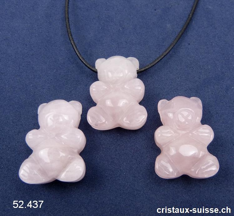 Collier Ourson Quartz rose percé avec cordon cuir à nouer