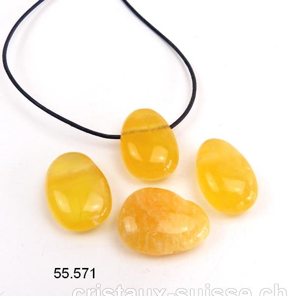 Collier Calcite orange percée avec cordon cuir à nouer