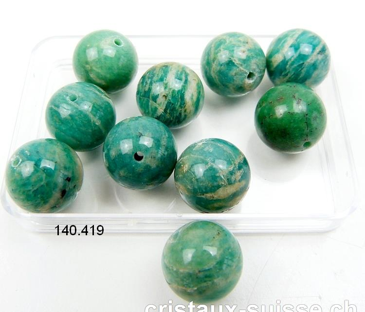 Amazonite de Russie, boule percée 12 mm