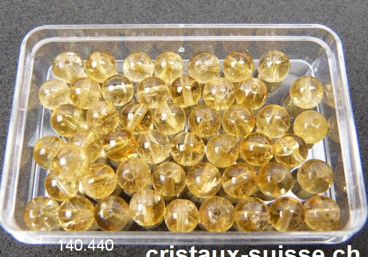 Citrine boule percée 6 mm. Qual A