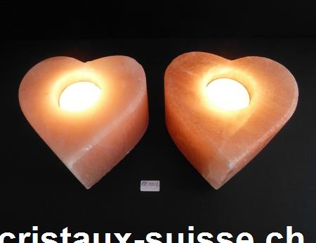 Bougeoir coeur en cristaux de sel. Grand, environ 1,2 kilo